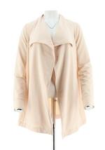 Halston Open Front Drape Collar Knit Cowl Neck Jacket Cream Blush S NEW ... - $38.59