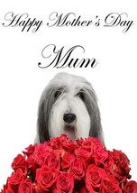 Bearded Collie roses A5 Mother's Day Greeting Card Mother mom Coderose - $4.26