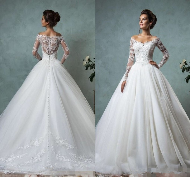 Lace Wedding Dress White Long Sleeve Bridal Dress A-Line Bridal Gowns,HH089