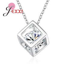 925 Sterling Silver Necklace With Square Clear Crystal Woman Pendant Necklace Ni - $9.55