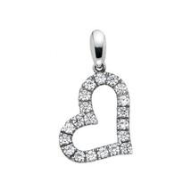 14k White Gold Cubic Zirconia Dangling Heart Pendant - $95.00