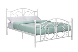 Full White Metal Bed with Headboard Retro Frame... - $212.04