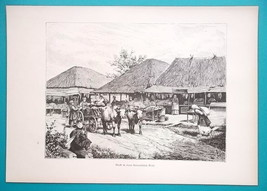 UKRAINE Little Russia Market Street in Village - 1880s Wood Engraving - $12.60