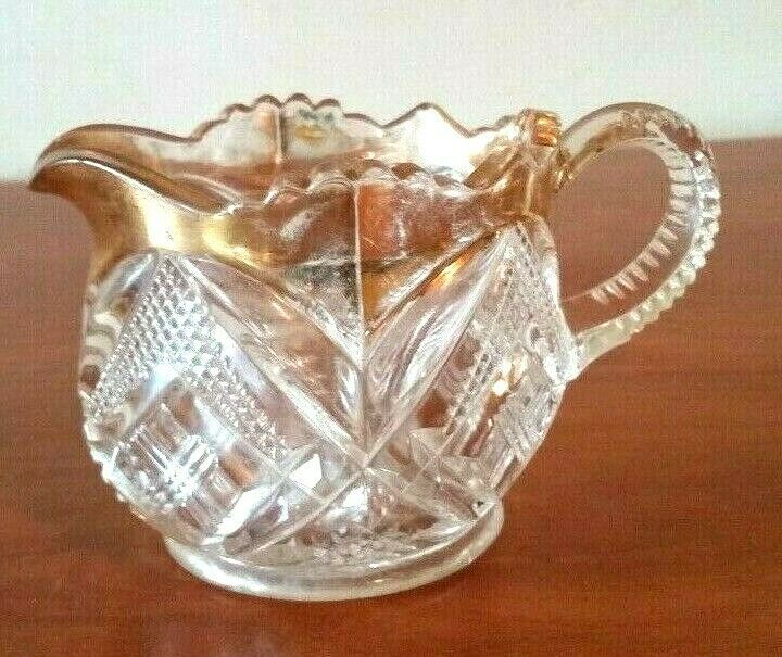Indiana Glass Kings Creamer Clear Glass With Wide Gold Band Embossed