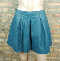 Forever 21 Teal Blue Faux Vegan Leather Pleated Fit & Flare Grunge Mini Skirt M - $20.00