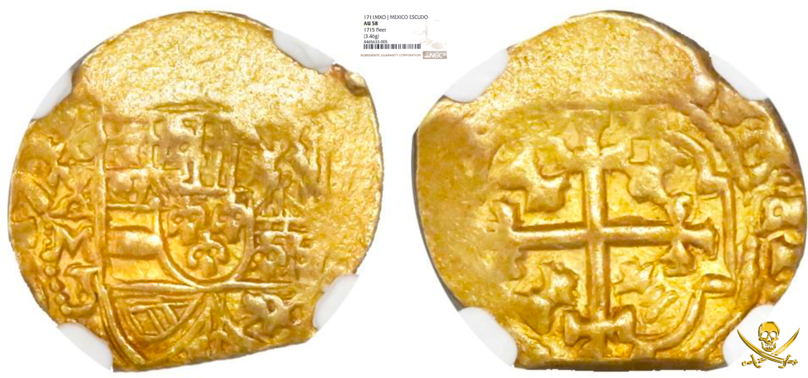 "MEXICO 1711 1 ESCUDO NGC 58 ""1715 FLEET"" SHIPWRECK PIRATE GOLD TREASURE COIN"