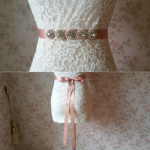 Handmade Blush Bridal Sash, Wedding Accessories, Rhinestone Sash, 2017 Wedding image 2