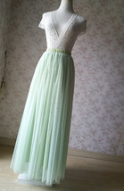 LIGHT GREEN Elastic High Waist Tulle Skirt Green Wedding Bridesmaid Tulle Skirts image 3