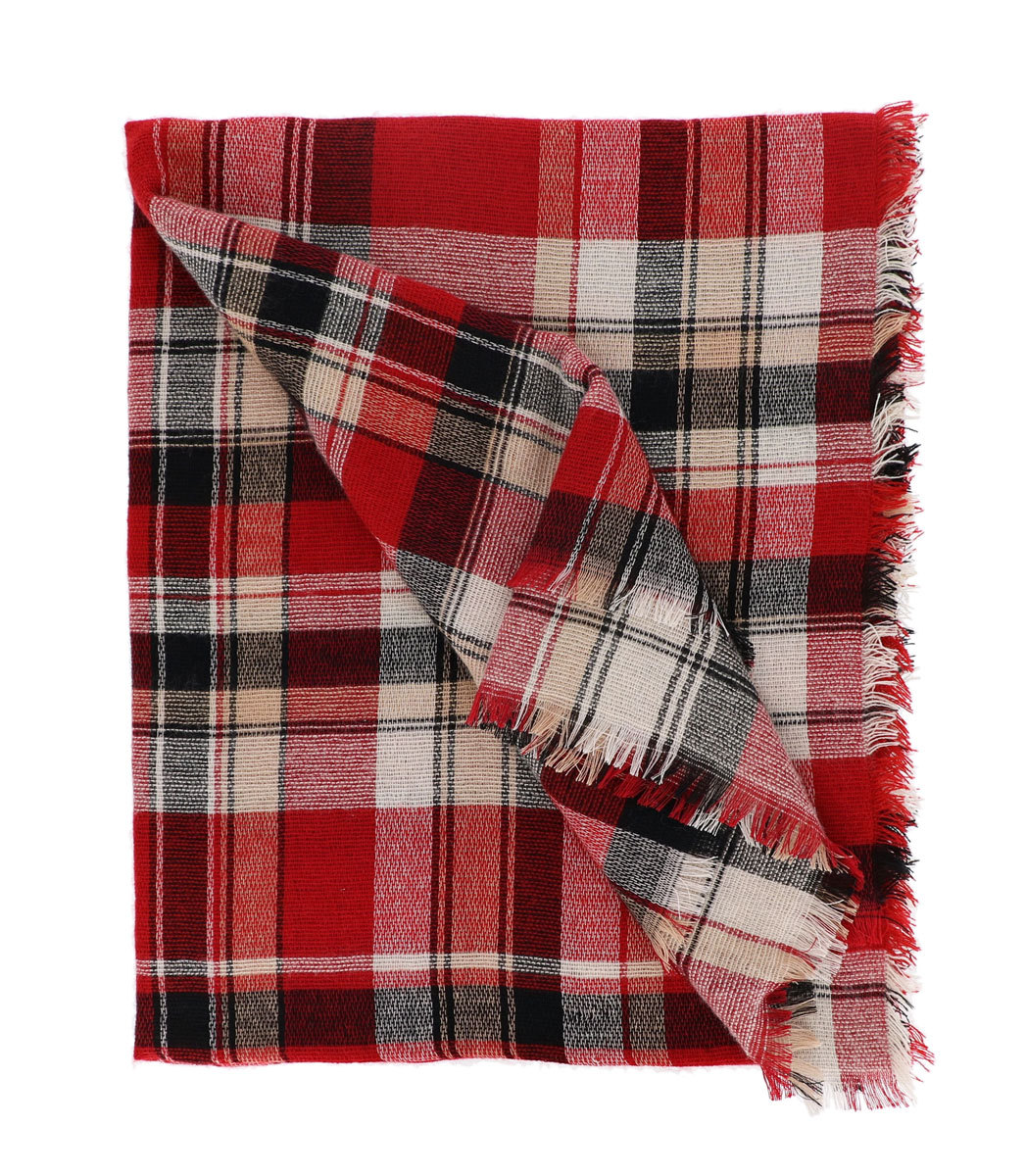 7 Seas Republic Women's Fringed Red Plaid Oblong Scarf