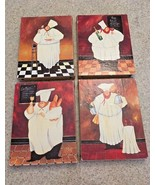 "Jennifer Garant Stretched Canvas Set Of 4 ""Fat Chef"" Wall Hangings (6X8) - $33.66"