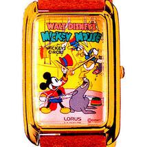 Mickey A 'Circus Ring Master' Watch Seiko Lorus Gold Tone Rectangular RM... - $97.86