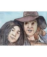 ACEO Original Painting John Lennon & Yoko Ono musicians Beatles sixties - $16.00