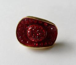 Rhinestone Cowboy Hat Pin Red Tie Tack Rhinestone Cowgirl Pin Red Lapel Pin - $25.00