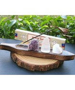 Meditation set wood boat, Amethyst, Selenite Heart, Selenite Tower Satya... - $27.72