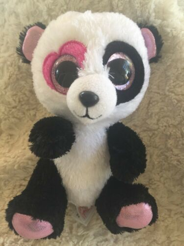 Primary image for Ty White Black Sparkly Pink Panda Beanie Boo MANDY