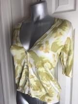 Talbots Woman Cardigan Sweater  FLOWERS FLORAL -M MEDIUM-SILK BLEND - $13.36