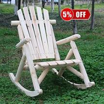 kdgarden Cedar/Fir Log Adirondack Rocking Chair Outdoor Wooden Porch Sin... - $106.18