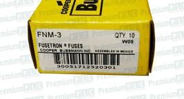 BOX OF 10 COOPER BUSSMANN FNM-3 FUSETRON FUSES CLASS MIDGET 3 AMP 250V TRM3 NIB image 2