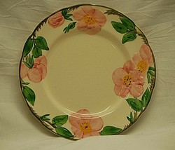 """Old Vintage Desert Rose by Franciscan 9-1/2"""" Luncheon Plate Pink Roses USA - $19.79"""