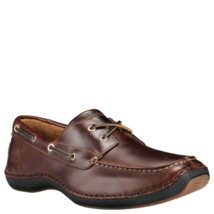 Timberland Men's Anapolis Medium Brown Leather Moc Toe Boat Shoes 74013 - $89.99