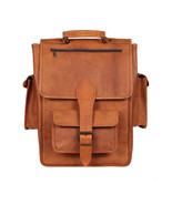 "New 16"" Vintage Leather Handmade Unisex Satchel Rucksack Backpack Messen... - $65.57"