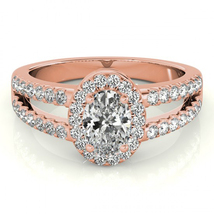 Oval Shape White CZ Two Row Bridal Wedding Ring 14k Rose Gold Plated 925 Silver - $86.56