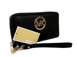 Michael Kors Logo Wristlet Purse Genuine Leather Black Fulton Phone Case... - $128.69