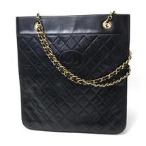 AUTHENTIC CHANEL Vintage CC Matelasse Tote Bag Shoulder Bag Black Lambskin - $600.00