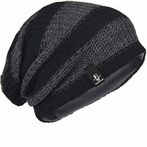 FORBUSITE Mens Slouchy Long Beanie Knit Cap for Summer Winter, Grey with... - $14.23
