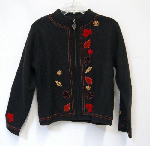 Timberlea TF0691 Small Black Wool Sweater Velvet Leaves Zippered