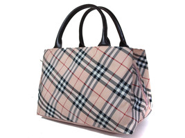 Auth BURBERRY LONDON BLUE LABEL Nova Check Canvas Leather Pink Hand Bag ... - $147.51