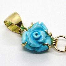 Pendentif en or Jaune 18K 750, Camée Camée, Fée, Fleurs, Rose de Turquoise image 5