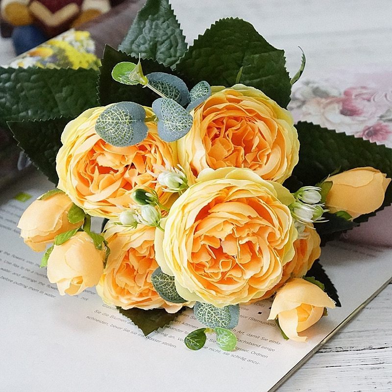 2018 Beautiful Rose Peony Artificial Silk Flowers small bouquet flores home part