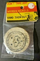 Vintage Wooden Nickel In Original Package Made In Japan Sealed Package N... - $9.99