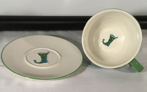 Starbucks Coffee HOLIDAY 2006 12oz Cup & Saucer Set 2Pc Green Blue Stocking
