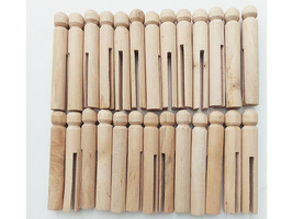 """Wood Doll-Peg Clothespins Round-Natural 3.75"""", 26 Pieces"""
