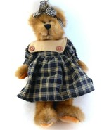 "Jerry Elsner Jointed TEDDY BEAR Girl in Dress & Matching Hair Bow 11"" tall - $10.88"