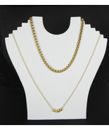 Three White Flocked Velvet Necklace Pendant  Easel Display Stands Displays - $19.50