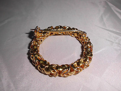 VTG Gold Tone Wreath Circle Sphere Abstract Style Brooch Pin
