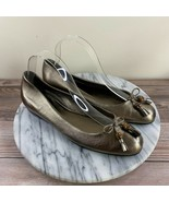 Gucci Round Toe Leather Ballet Flats w/ Tasseled Bow Tie Gold Women's Si... - $249.95