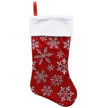 Christmas House Polyester Red Stockings with Glittery Snowflakes, 17.5 in w - $5.99