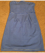 Old Navy strapless cotton/spandex blue/white striped dress women's M - $23.36