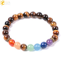 CSJA 2018 Natural Mala Gem Stone Tiger Eye Mens Women Charm Bracelets Me... - $9.16