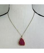 "Dark Pink & Gold Tone Druzy Pendant Necklace 20"" Long Chain Fashion Jewelry - $19.99"