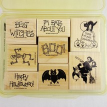 Vintage Stampin Up Wood Mounted Rubber Stamps Halloween Bats About You S... - $19.25