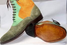 Handmade Men's Multi Colors Suede Two Tone High Ankle Lace Up Boots image 4