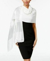 New Calvin Klein Classy Women's Scarf Soft Metallic Silver Colorblock Wr... - $14.38