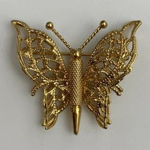 Monet Butterfly Brooch Pin Gold Tone Signed Vintage 3D Layered Style Ope... - $14.80