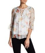 Lola Made in Italy Women's Beige Floral Ruffle Lace-Up Silk Blouse Size ... - $39.59