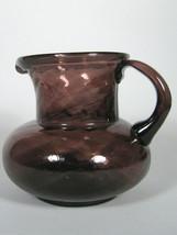 Glass Pitcher Clear Purple Hand Blown Pontil Swirl Spiral Handle Vintage... - $33.66